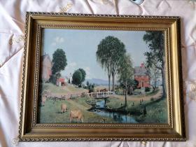 七八十年代老画框油画一幅<外国乡村风光>印刷品。磊