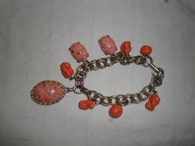 古董古玩文玩首饰系列:高端大气纯天然珊瑚6颗粉玉石3颗及925银编制的手链手串