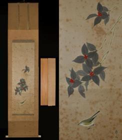 ▲民国回流日本老书画手绘花鸟画花雀挂轴立轴卷轴古字画条幅茶挂画真迹