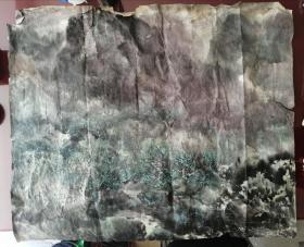 国画:国画大师宋雨桂真迹,大八尺斗方,山水
