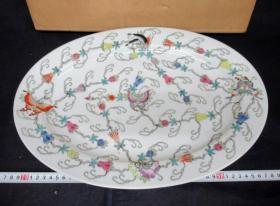 出口创汇期精品:景德镇新光瓷厂制  手绘瓜瓞绵绵大盘