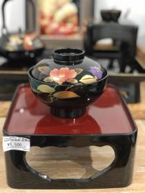 日本制|全新金莳绘芙蓉木胎大漆盖碗