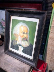 文革时期。手绘的马克思宣传画,油画,老框