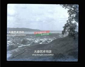 民国原版银盐照片底片一张,民国早期浙江杭州上城区城市全景,远处是西湖和保俶塔。