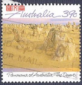 外国邮票:澳大利亚西部高原:维多利亚大沙漠,荒漠的山峰图,好信销邮票一枚