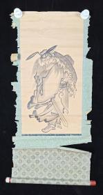 【日本回流】原装旧裱 佚名 国画作品《老僧》一幅(纸本立轴,画心约1.2平尺)HXTX215392
