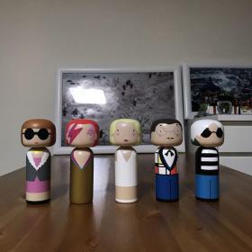 英国 LUCIE KAAS Kokeshi 手工木偶娃娃 Anna安娜 Aladdin Sane大卫鲍伊 David Bowie Marilyn梦露 Piet蒙德里安 Audy安迪