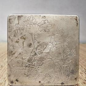 清代大尺寸白铜墨盒