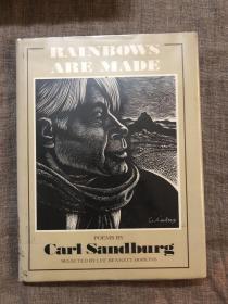 Rainbows Are Made: Poems by Carl Sandburg 卡尔·桑德堡诗选【木刻大师 Fritz Eichenberg 精美木刻插图,艾肯伯格为《卡拉马佐夫兄弟》、《罪与罚》、《格列夫游记》等作品配的木刻插图早已成为经典。英文版,精装,大开本薄册】馆藏书,留意书品描述