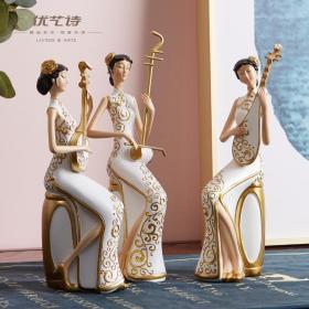 新中式旗袍二胡琵琶乐器仕女摆件,中国风客厅电视柜玄关,软装工艺品