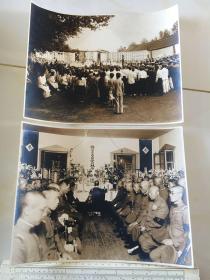 民国抗战时期原版老照片:吉林延吉侵华日军陆军步兵上尉中川林平慰灵祭特大照片2张