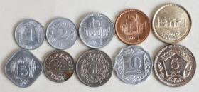 巴基斯坦10枚硬币大全套 外国硬币