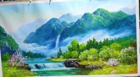 朝鲜油画     贡勋画家吕仁善画山水画