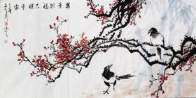 【自写自销】当代艺术家协会副主席王丞手绘 !!双喜报福平安吉祥284