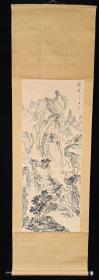 【日本回流】原装旧裱 佚名 国画作品《胜境》一幅(纸本立轴,画心约3.8平尺,款识钤印:水云卿)HXTX215548