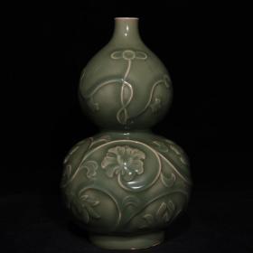 宋龙泉窑【浮雕缠枝花卉纹葫芦瓶】老货收藏