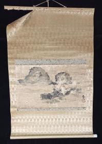 【日本回流】原装旧裱 立晁 国画作品《无题》一幅(纸本立轴,画心约1.7平尺,款识钤印:立晁画印)HXTX215546