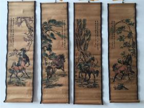 仿古做旧国画字画 花鸟画少梅八马 八骏图图已装裱四条屏装饰挂画