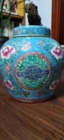 粉彩福寿罐 (纯手绘)