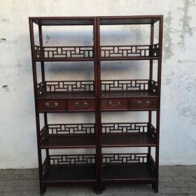 清代黄花梨卧室木艺木雕书柜一对