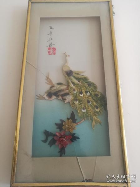贝壳画孔雀牡丹