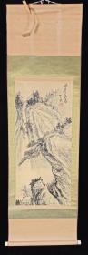 【日本回流】原装旧裱 贺成 国画作品《深崖飞瀑》一幅(绢本立轴,画心约3.4平尺,款识钤印:常乐居士)HXTX215647
