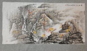 四川老画家 杨老 国画山水金秋 四尺整纸 原稿手绘原稿