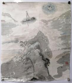 欣宾国画,董欣宾原连云港市海州医院医生,山水,55X50,保证手绘。