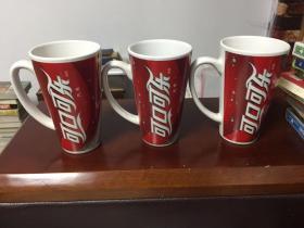 可口可乐圣诞快乐杯子三个合售,三个圣诞老人图案不一样
