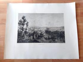 巨幅原创钢版画《阿尔卑斯山壮丽景致:苏黎世的湖光山色,瑞士》(ZÜRICH)-- 据查,瑞士某拍卖行2009年曾有拍卖此作品,起拍400欧元 -- 雕刻师:H.Lollinger,瑞士日内瓦阿彭策尔出版社发行(H.appenzeller Editeier),限量发行300份,版幅超大 -- 苏黎世位于瑞士中北部,阿尔卑斯山北麓,苏黎世湖西北端,利马特河穿城而过-- 版画纸张83*67厘米