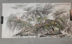 四川名家 杨老 国画山水 烂漫山花 四尺整纸 原稿手绘真迹