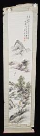 【日本回流】原装旧裱 秀善 国画作品《千山春以昏 草木嫩芽新》一幅(纸本立轴,画心约3.3平尺,款识钤印:秀善小史)HXTX215596