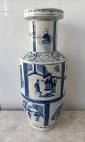 青花瓷器 棒槌瓶 青花人物故事棒槌瓶 直径17cm 高43cm。 本交易仅支持、邮寄