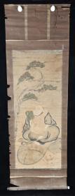 【日本回流】原装旧裱 佚名 国画作品《松下蒲扇僧》一幅(纸本立轴,画心约3.8平尺)HXTX215689