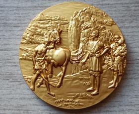 2002年中国投资担保有限公司生肖(悲鸿名作-马)镀金纪念章