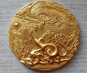 2008年中国投资担保有限公司生肖(举首望日-鼠)镀金纪念章