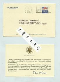 1993年美国总统克林顿写给Dorothy Herrick的卡片,有克林顿总统亲笔手签签名,白宫专用信封和钢印卡纸,于1993年9月30日从华盛顿寄往俄亥俄州查斯特兰市