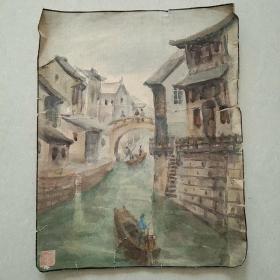 佚名画家画作《江南水乡》