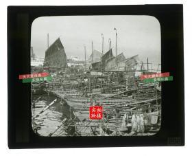 清代民国玻璃幻灯片-----清末民初时期在港口中连城一片的香港普通百姓船屋