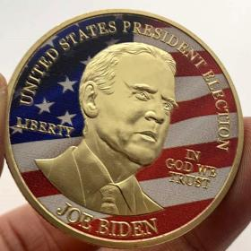 2020美国总统大选拜登镀金纪念章 彩绘金币硬币风云人物纪念币