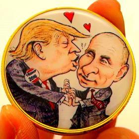 美国总统特朗普镀金漫画硬币 普京金币纪念币收藏币工艺纪念章
