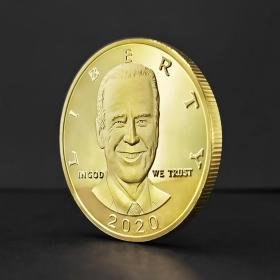 美国总统大选2020拜登纪念币 人像浮雕彩印外贸金属工艺品收藏币