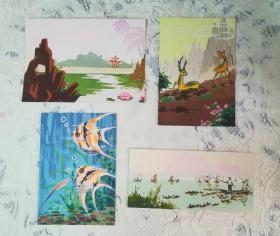 七八十年代 手绘水粉画 4张
