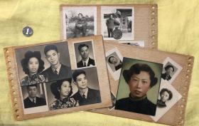民国-解放初期 帅气男青年与旗袍美女合影等老照片三板29枚合售