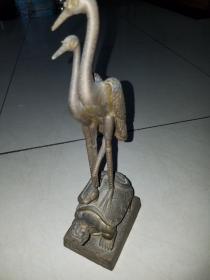 铜龟鹤延年雌雄双鹤铜摆件
