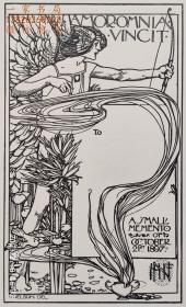 """""""新艺术名作""""英国艺术家""""Harold E.H.Nelson""""线刻藏书票—《狩猎女神阿尔忒弥斯》1897"""