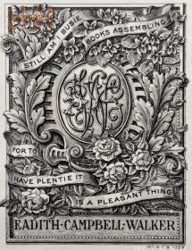 """""""限量260编号""""""""英皇御用铜版雕刻大师""""巴雷特W.P.Barrett铜版藏书票/ 票主:EADITH CAMPBELL WALKER  高档犊皮纸 1899"""