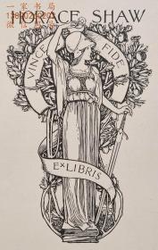 """""""新艺术名作""""英国艺术家""""Harold E.H.Nelson""""线刻藏书票—《女武士》"""