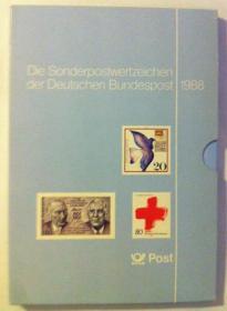 联邦德国1988年全年邮票年册 共37套 全新全品 外国邮票