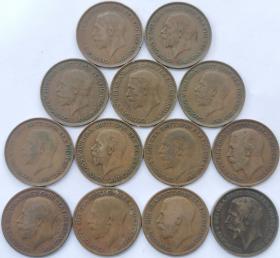 13个不同年份31mm大铜币 英国乔治五世1912-1936年1便士硬币 乔五